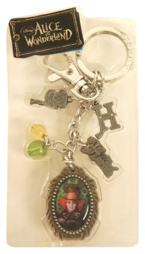 Disney Pewter Key Ring - Charms - Mad Hatter, Scissors, Hat, 10/6, Teacup, Spool, Logo and Beads