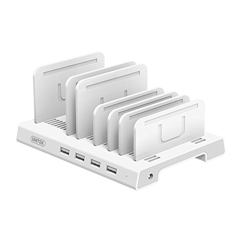 Station Docking Psp (UNITEK 4 Ports Charging Station, 36W/7.2A Desktop USB Fast Charger Station Tablet Organizer & Multi-Device Docking Stand, Upgraded Adjustable Dividers, Smart IC Compatible iPad, iPhone, Tablet & More)