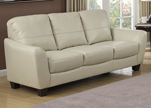 AC Pacific Sawyer Collection Contemporary Upholstered Sofa with Wooden Tapered Block Legs, Eggshell