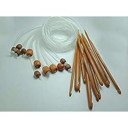 """12 Sizes 1.2M 48"""" Afghan Tunisian Carbonized Bamboo Knitting Needle Crochet Hooks Set with Beads"""