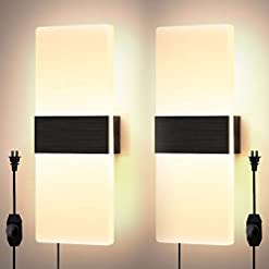Interior Lighting Lightess Dimmable Wall Sconce Plug in Modern Sconces lamp Set of 2 Black Brushed Acrylic Up Down Wall Mounted Light 12W… modern wall sconces