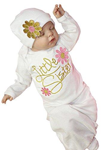 Newborn Baby Girls Sleepy Eyes+Rosy Cheeks Gown Hat Sleepwear Sleeping Bags size 0-3 Months(Tag 70) (Pink - Wear Store Eye
