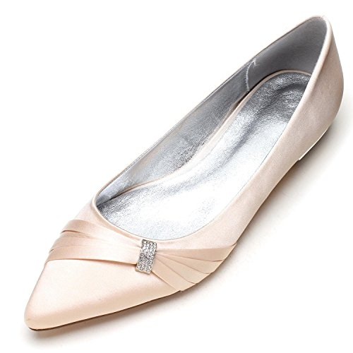 5047 Novia Elegant Hebilla Zapatos Zapatos Heel shoes Para de Mujer Toe Satin high 18 Champagne Closed Satin Wedding Evening Court rwqqO0nRI