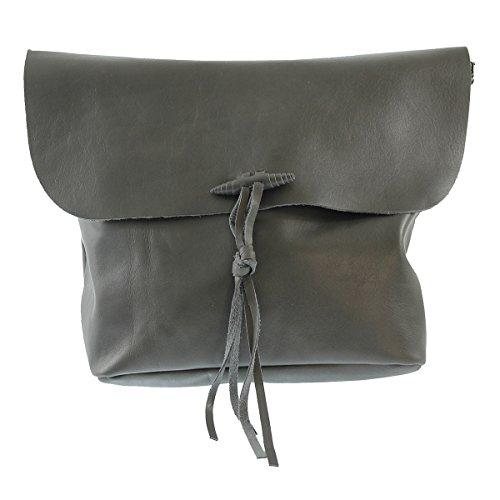 CTM Italy Woman's 5x4 leather soft made in Grey italian 32x24 bag Cm genuine crossbody rrHzwp