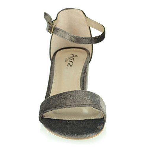 Mujer Señoras Terciopelo Punta Abierta Correa de Tobillo Medio Tacón Bloque Noche Casual Formal Fiesta Calzado Sandalias Zapatos Talla Desnudo