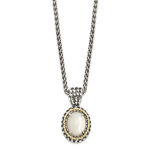 Mia Diamonds Sterling Silver with 14k Gold with Antiqued Mop Necklace -18
