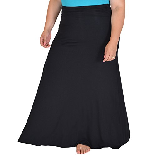 Stretch is Comfort Women's Plus Size LONG Flowy Skirt Black XXX-Large