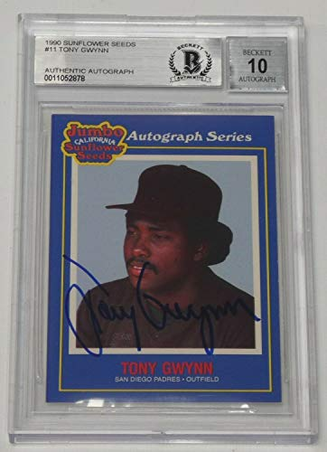 - Tony Gwynn Autographed Signed 1990 Jumbo SuNFLower Seeds Card #11 BAS COA Gem Mint 10 Autod - Authentic Memorabilia