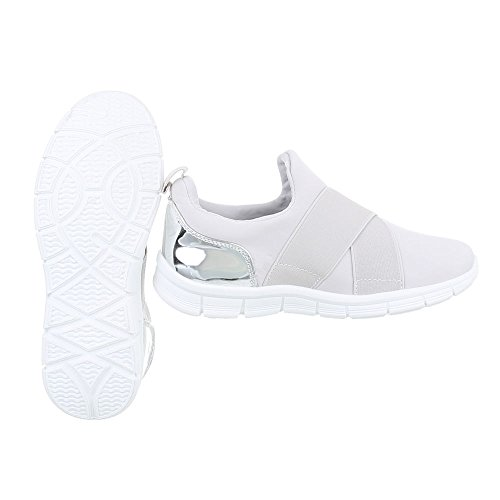 Ital-Design Low-Top Sneaker Damenschuhe Low-Top Sneakers Freizeitschuhe Hellgrau