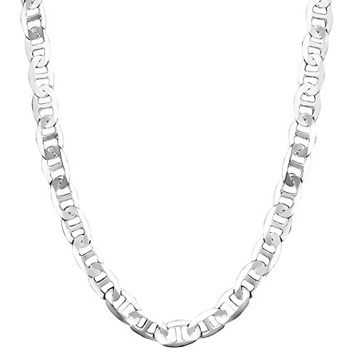 Honolulu Jewelry Company Sterling Silver 4.5mm - 8mm Mariner Link Chain Necklace or Bracelet (7mm - 20 Inches)