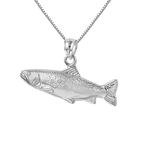 """Sterling Silver Salmon Fish Charm / Pendant, Made in USA, 18"""" Italian Box Chain (Only Pendant)"""