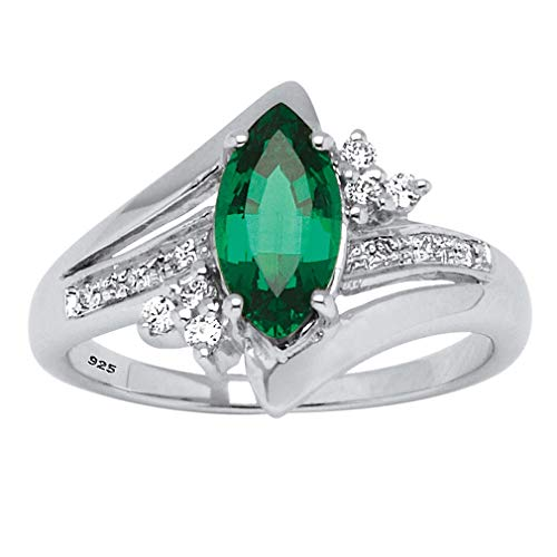 Platinum over Sterling Silver Marquise Cut Created Green Emerald and Round Cubic Zirconia Ring Size 7