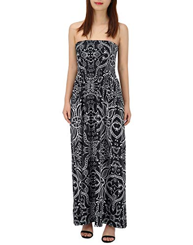 HDE Women's Strapless Maxi Dress Plus Size Tube Top Long Skirt Sundress (Black Abstract, ()