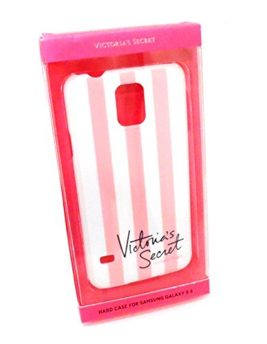 Victoria's Secret Pink White Stripes Hard Case Samsung Galaxy S 5 Phone Cover