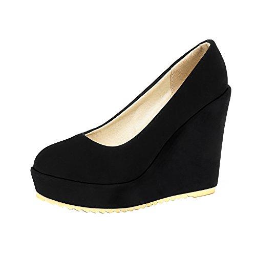 Remache Mujers De Suede Cuña Shoes Salón Negro Eud59 Hebilla Con Alto And Tacon Ageemi 5xgqPY4Y