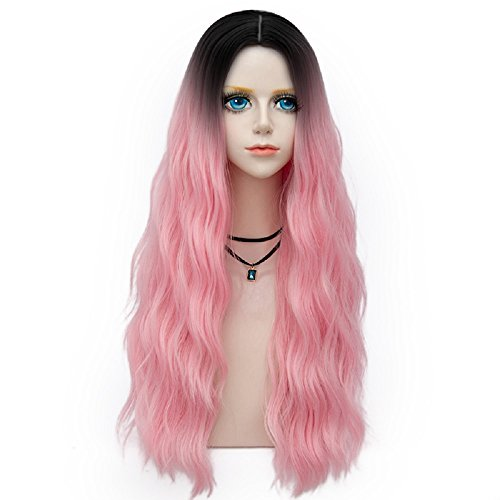 Probeauty Forest Lady Collection Ombre Dark Root Long Curly Women Lolita Anime Cosplay Wig + Wig Cap (70cm, Baby Pink F26)
