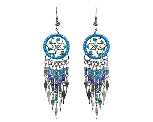 Dream Catcher Long Beaded Dangle Earrings (Turquoise/Green/Purple)