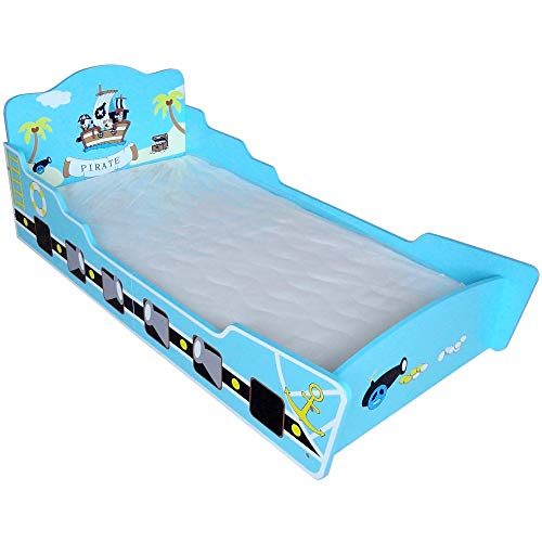 Bebe Style Premium Wooden Toddler Bed Pirate Theme Easy Assembly Blue