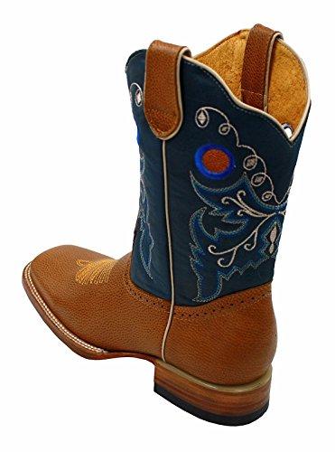 Menns Rodeo Cowboy Western Ekte Skinn Dyr Print Firkantet Tå Støvler Meil