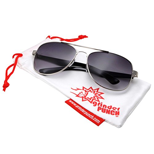 grinderPUNCH Wide Frame Aviator Sunglasses - 150mm - Silver Frame - Gradient - Nose Big For Sunglasses