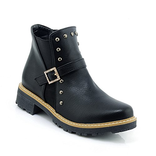 Cold Lining Studded Leather Smooth Boots Low Boots Toe Smooth Black Top 1TO9 Bootie Womens Closed Urethane Leather MNS02474 Y1AXXw