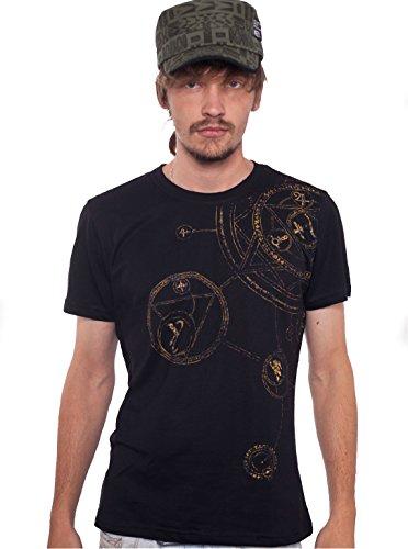 Men's Psychedelic T-Shirt Magic Circle Graphic Symbol Hypnotic Black Top S (Circle Perfect A Symbol)