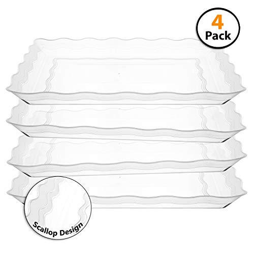 Catering Serving Trays - 4 Pack Rectangular Clear Plastic Trays, Heavyweight Disposable Serving Party Platters, 9