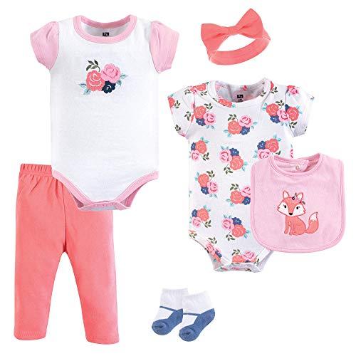 Hudson Baby Unisex Baby Layette, Floral Fox, 6-Piece Set, 6-9 Months (9M)