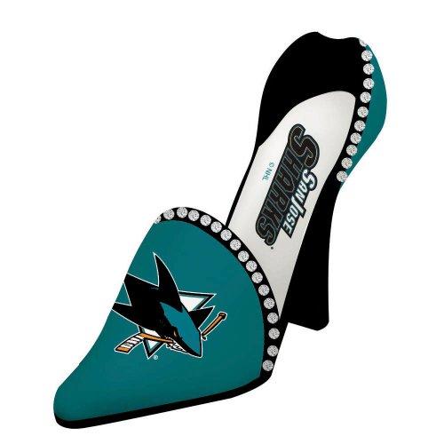 Team Sports America San Jose Sharks Resin Logo High Heel Shoe Wine Bottle Holder]()