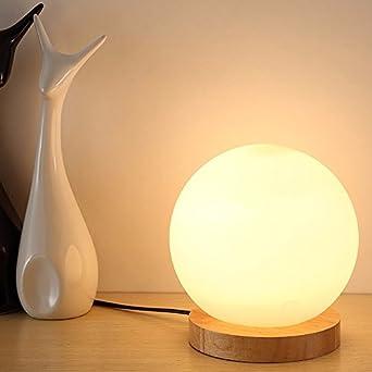 XHOPOS HOME Tischleuchte Tischlampe Minimalistische Glas Kreativität Wenig  Nachtlichter Schlafzimmer Leselampen Nachttischlampe Orb Holz Lampen Rund