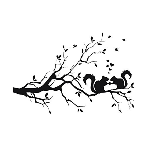 Window Decal Stickers Clings Squirrel On Long Tree Branch Wall Sticker Animals Cats Art Decal Kids Room Decor Removable Wall Stickers Home Peel and Stick Wall Decals (As Shown) -