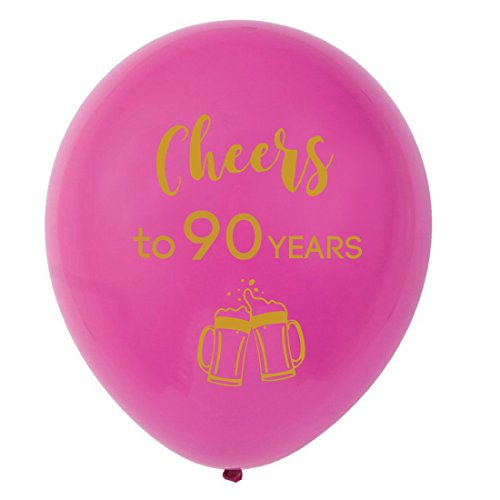 Pink cheers to 90 years latex balloons, 12inch (16pcs) 90th birthday decorations party supplies for man and woman]()