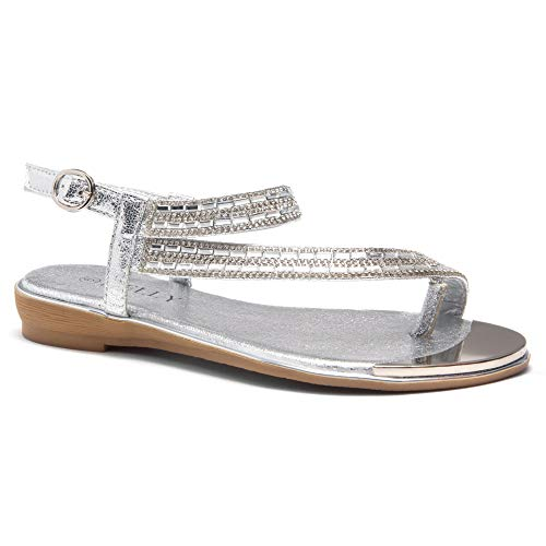 Herstyle Women's Talluto Rhinestone Bohemian Slip On Flip Flops Shoes Strap Gladiator Toe Loop Flat Sandals Silver - Wedding Flops Flip Silver