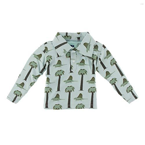 Kickee Pants Little Boys Print Long Sleeve Performance Jersey Polo - Dimetrodon, Extra Small