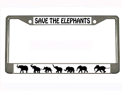 (SAVE THE ELEPHANTS Chrome Metal Auto License Plate Frame Car Tag Holder with car banner flag)