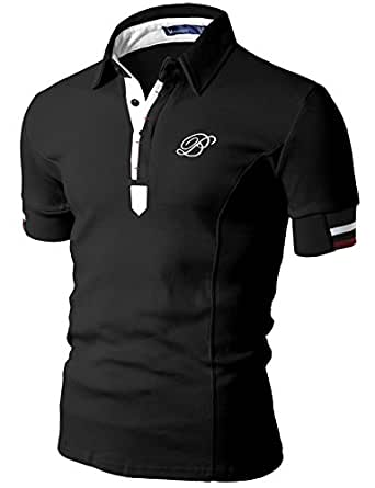 Doublju Mens Polo T-shirts with Short Sleeve BLACK (US-XS)