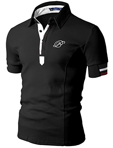 Doublju Mens Polo T-shirts with Short Sleeve BLACK (US-XL)