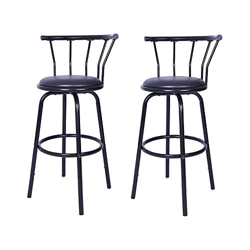 Fiudx Vintage Wrought Iron Rotating High Stool Bar Chair Steel Counter Height,Set of 2