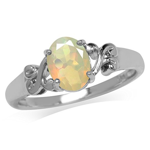 Genuine Opal White Gold Plated 925 Sterling Silver Victorian Style Solitaire Ring Size 9 ()