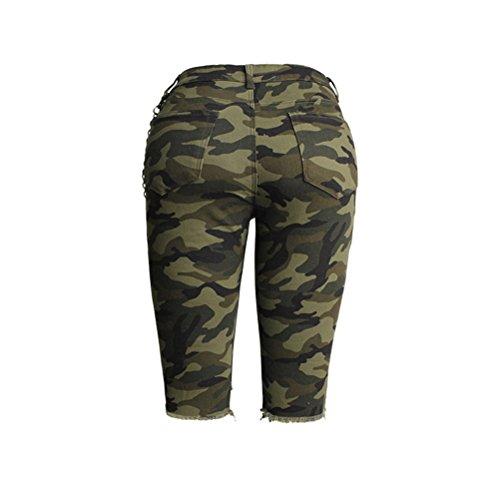 tagliuzzati vita Pantaloncini Jeans Shorts a da alta donna FuweiEncore Skinny Verde in Shorts Stampati Camouflage Mi SYw7H
