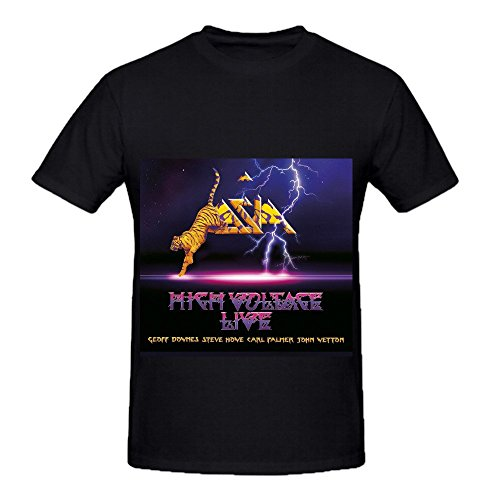 High Voltage Asia 80s Album Cover Men Crew Neck Printed T Shirt Black (Ernie The Elf)