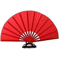 Bamboo bone Tai Chi Fan red Plain Loud fan Kung Fu Fan Dancing Fan Crafts Wushu Practice fan Red