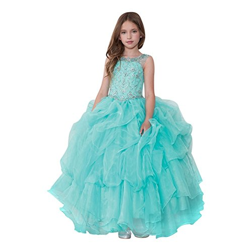 Calla Collection Little Girls Aqua Glitter Ruffled Gorgeous Pageant Dress 4 by Calla Collection USA