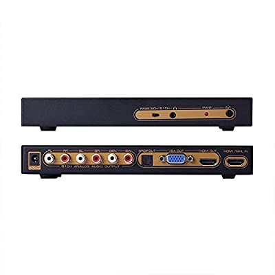 C-Zone 1080P HDMI Digital Audio Decoder HDMI To HDMI+VGA+SPDIF+5.1ch+HP Converter,Supports Dolby Digital AC3 Dts Lpcm for Network player/set-top boxes/DvD/Ps3/Pc