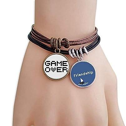 Grey Black Game Over Pixel Friendship Bracelet Leather Rope Wristband Couple Set Estimated Price -