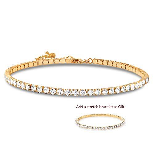 Zealmer 1 Row Clear Rhinestone Choker Necklace & Stretch Bracelet for Women Girls Gold Tone