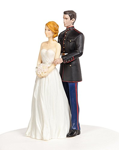 Wedding Collectibles Marine Military Wedding Cake Topper - Caucasian Bride and Groom (Marines Cake Topper)