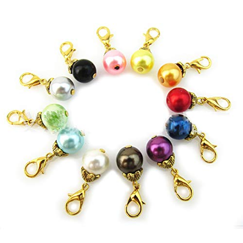 - Blovess yueton 20pcs Colorful Pearl Dangle Charms Pendant with Lobster Clasp Jewelry Making Accessory Fit Floating Locket Charms Necklaces(Golden)