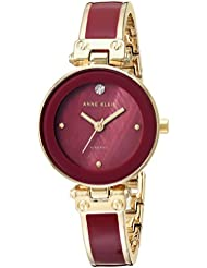 Anne Klein Women's AK/1980BYGB Diamond-Accented Gold-Tone and Burgundy Bangle Watch