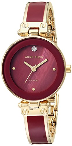 Anne Klein Women's AK/1980BYGB Diamond-Accented Gold-Tone and Burgundy Bangle Watch (Womens Diamond Bangle Watch)
